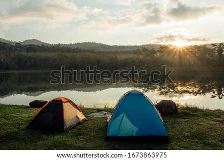 Camping  the river outdoor Camping. Glamping lifestyle. Rugged camping trips. #1673863975