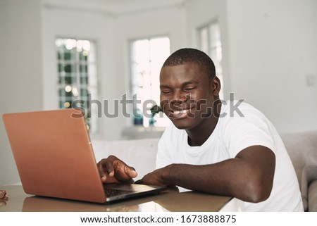 Smile man African appearance laptop #1673888875