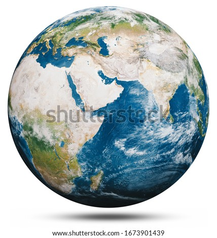 Planet Earth globe isolated. Elements of this image furnished by NASA. 3d rendering #1673901439