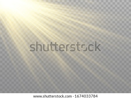 Vector transparent sunlight special lens flash light effect.front sun lens flash. Vector blur in the light of radiance. Element of decor. Horizontal stellar rays and searchlight. #1674033784