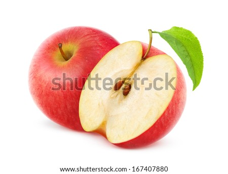 Isolated apples. One and a half red apple fruits isolated on white background #167407880