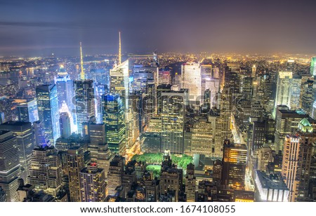 New York City, USA. Night aerial view of Midtown Manhattan skyscrapers from a high viewpoint. #1674108055