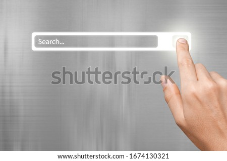 Human hand and internet search page