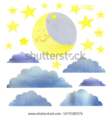 Hand drawn cartoon cute moon, star, cloud and color drops isolated on white background. Watercolor color rain. The cute moon smiles, star shine. Print for baby textile, dishes, toys, book, paper, card #1674180376