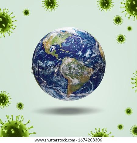 Corona virus attack concept. Earth planet and virus molecule #1674208306