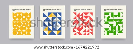 Bauhaus geometric pattern background, vector abstract circle, triangle and square lines art. Yellow, blue, red and green color, trendy Bauhaus pattern backgrounds set #1674221992
