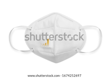 N95 mask for protection pm 2.5 and corona virus isolated on white background, Medical mask protection against pollution, virus, flu, coughing and coronavirus. Royalty-Free Stock Photo #1674252697