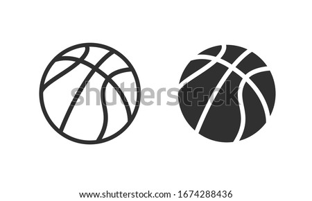 Basketball flat icons. White and black sport icons. Vector basketball balls.