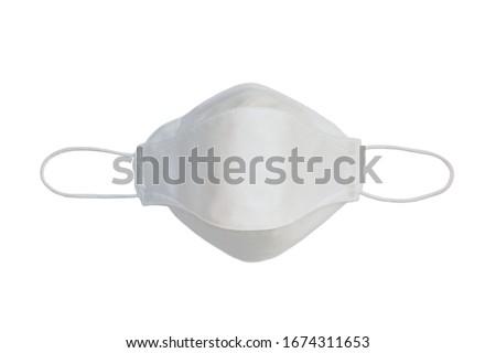 White virus protection mask on white background, kf94 mask