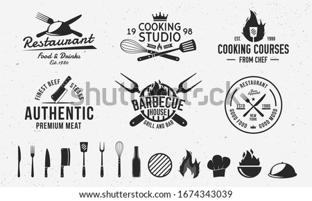 Vintage hipster logo templates and 13 design elements for restaurant business. Butchery, Barbecue, Cooking Class and Restaurant emblems templates. Fork, knife, whisk, cooking icons.Vector illustration #1674343039