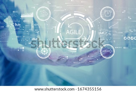 Agile concept with young man holding his hand #1674355156