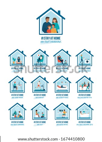 I stay at home awareness social media campaign and coronavirus prevention: people and families doing different activities and supporting the cause #1674410800