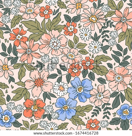 Elegant floral pattern in small hand draw flowers. Liberty style. Floral seamless background for fashion prints. Vintage print. Seamless vector texture. Spring bouquet. #1674416728