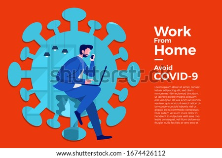 Illustrations concept coronavirus COVID-19. The company allows employees to work from home to avoid viruses. Vector illustrate. #1674426112
