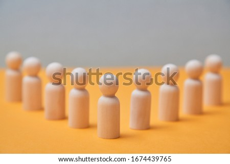 Creative thinking mockup. Individuality and creativity. Thinking outside the box. Person figure stands out from crowd #1674439765