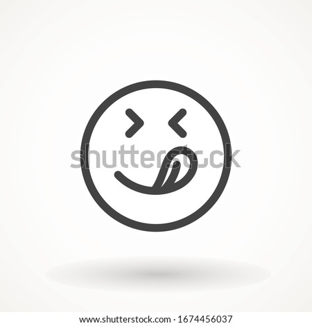 Yummy smile emoticon icon lick mouth. Editable strok Tasty food eating emoji face. Delicious cartoon on white background. Smile face line design. Savory gourmet. Yummy vector icon #1674456037