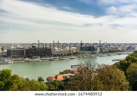 Budapest, Hungary, Europe - September 14, 2018: Views of Budapest and the Danube from the Buda Castle #1674480952