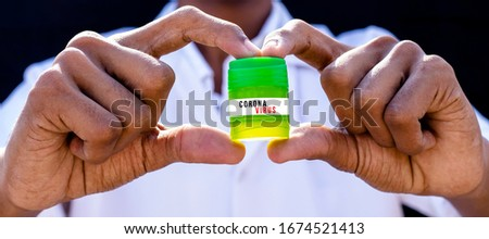 Corona Virus Solution is a doctor holding a green untitled drug bottle #1674521413