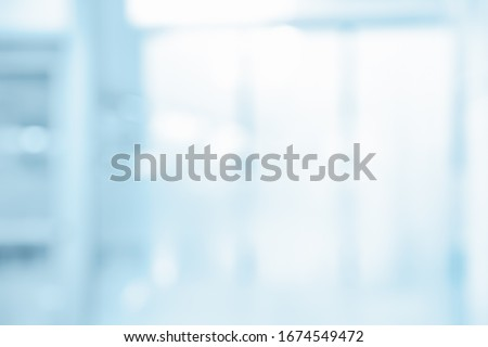 BLURRED WINDOW IN MODERN BLUE OFFICE, MEDICAL ROOM BACKGROUND