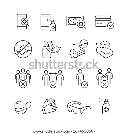 Coronavirus protection related icons: thin vector icon set, black and white kit #1674550507