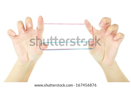 Game with an elastic band, isolated on white #167456876