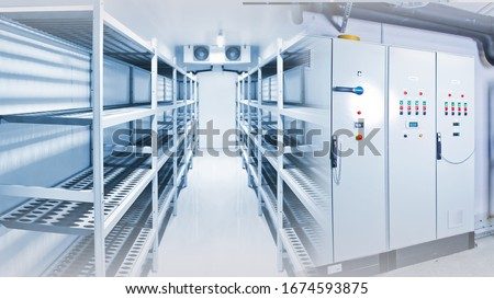 Refrigeration chamber for food storage Royalty-Free Stock Photo #1674593875