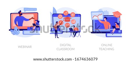 Educational web seminar, internet classes, professional personal teacher service icons set. Webinar, digital classroom, online teaching metaphors. Vector isolated concept metaphor illustrations #1674636079