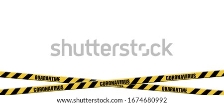 Warning coronavirus quarantine yellow and black stripes tape on white background,  tapes hazard quarantine, coronavirus caution and warning tape, covid-19, coronavirus quarantine sign, 3d illustration