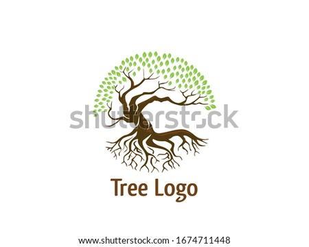 Circle Tree vector logo this beautiful tree is a symbol of life, beauty, growth, strength, and good health. #1674711448