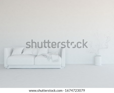 White minimalist living room interior with sofa on a wooden floor, decor on large wall, white landscape in window. Home nordic interior. 3D illustration #1674723079