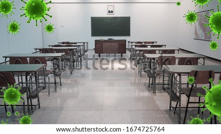 school closed, warning,school off, world Corona virus attack concept.  Concept of fight against virus, danger and public health risk disease, isolated ,pollution, world pollution, COVID 19, virus Royalty-Free Stock Photo #1674725764