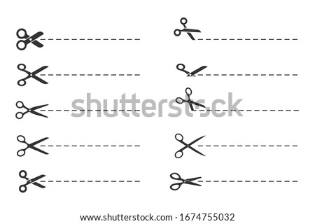 scissors cut lines, paper cut symbol template
