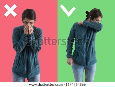 Comparison between wrong and right way to sneeze to prevent virus infection. Caucasian woman isolated on colored background sneezing,coughing into her arm or elbow to prevent contagion Royalty-Free Stock Photo #1674764866