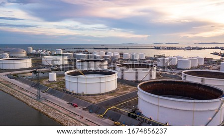 Tank farm storage chemical petroleum petrochemical refinery product at oil storage terminal company, Business commercial trade fuel and gas power and energy transport. #1674856237