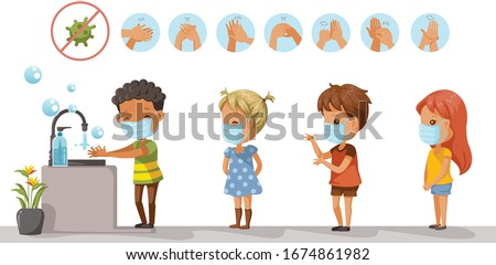 Prevents the flu and infection from the covid-19. Wear a mask. Wash your hands. Children wearing protective masks and children are queuing to wash their hands. Health care concept vector illustration  #1674861982