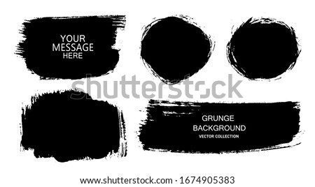 Set of vector black paint, ink brush strokes, brushes, lines. Dirty artistic design elements, boxes, frames for text. #1674905383
