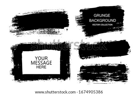 Painted grunge stripes set. Black labels, background, paint texture. Brush strokes vector. Handmade design elements. #1674905386