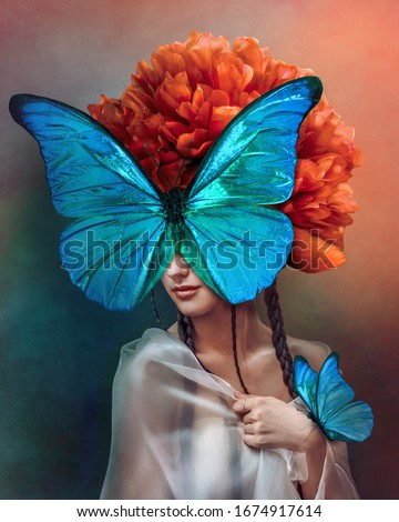 Surreal portrait of a woman with butterflies and peony flower. Interior photo art in art deco style. Beautiful surrealistic art picture with blue, orange, green color. Mixed media. #1674917614