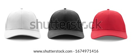 Blank white, black and red baseball cap mockup template isolated on white, clipping path. Set #1674971416