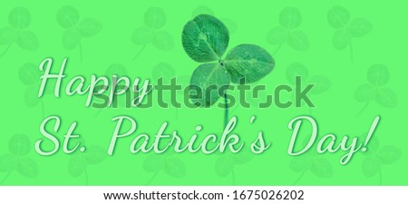 Happy Saint Patrick's day, wide banner with lucky clover on green background #1675026202