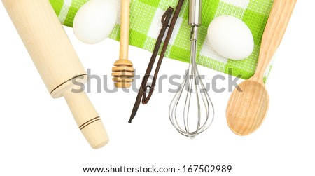Cooking concept. Basic baking ingredients and kitchen tools isolated on white #167502989