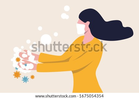 Washing hands to sanitize and disinfect COVID-19 Coronavirus pathogens from your hands concept, woman washing hands with alcohol gel or soap with bubbles and COVID-19 virus pathogen on her hands. #1675054354