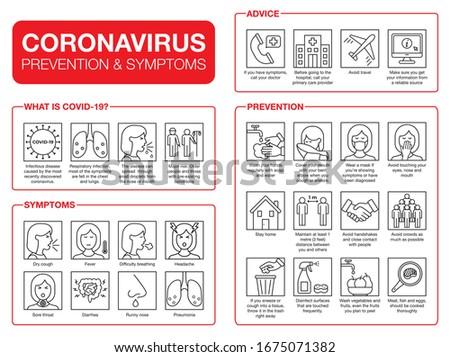 Coronavirus pandemic infographic. Covid-19 prevention, symptoms and spreading vectors. Virus line icon set for websites. 2019-nCoV protection tips. Novel Coronavirus outbreak spread information.  #1675071382