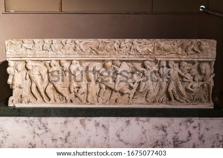 ISTANBUL, TURKEY - 4 APRIL , 2017: Museum of Archeology in Istanbul, ancient exhibits of ancient empires inhabiting the territory of present-day Turkey #1675077403