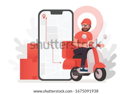 Scooter with delivery man flat vector cartoon character. Fast courier. Restaurant food service, mail delivery service, a postal employee the determination of geolocation using electronic device #1675091938