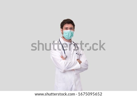 Doctor Wearing Medical Mask Isolated.  #1675095652
