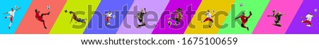 Collage of 4 young emotional jumping people on multicolored gradient background. Concept of human emotions, facial expression, sales. Header, banner or proposal flyer. Sport, soccer, football fans. #1675100659