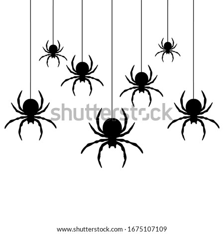 Black spiders hanging on a web.  Use for printing, posters, T-shirts, textile drawing, print pattern. Follow other spiders patterns in my collection. #1675107109