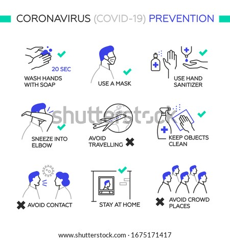 Prevention Coronavirus COVID-19. Simple set of vector line icons. Icons as wash hands, mask, sanitizer, sneeze into elbow, stay at home, avoid travel and crowd. White background, isolated.  #1675171417