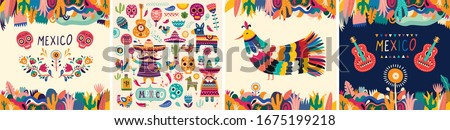 Beautiful vector illustration with design  for Mexican holiday 5 may Cinco De Mayo. Vector template with traditional Mexican symbols skull, Mexican guitar, flowers, red pepper #1675199218